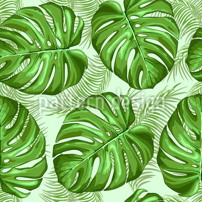 Monstera and Palm Leaves Seamless Vector Pattern Design