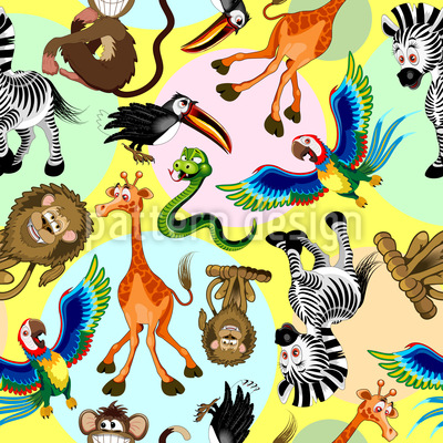 Funny Animal Characters Seamless Vector Pattern Design