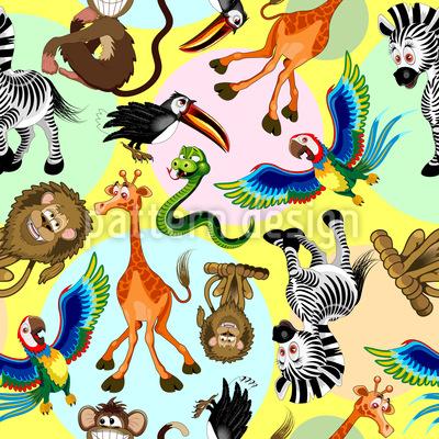 Lustige Tierfiguren Nahtloses Vektor Muster