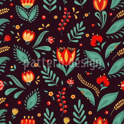 Blumen Und Gras Nahtloses Vektor Muster