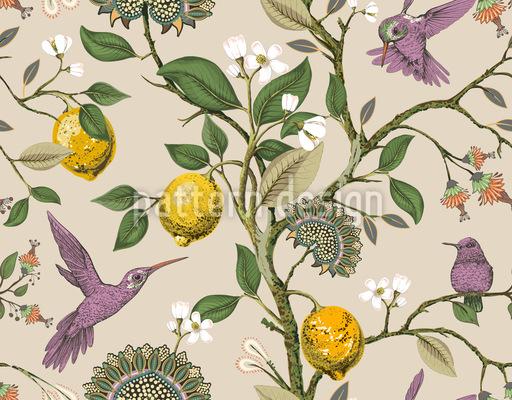 Kolibri Garten Nahtloses Vektormuster