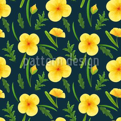 Wilde Blumen und Wiesengras Vektor Ornament