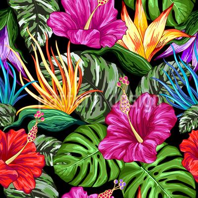 Tropical Flora Estate Mood disegni vettoriali senza cuciture