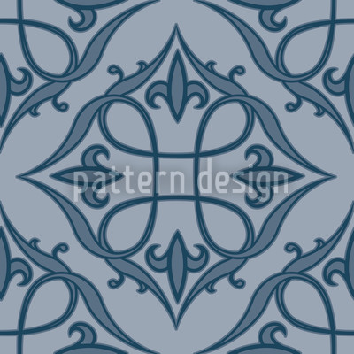 Renaissance Blue Seamless Vector Pattern Design