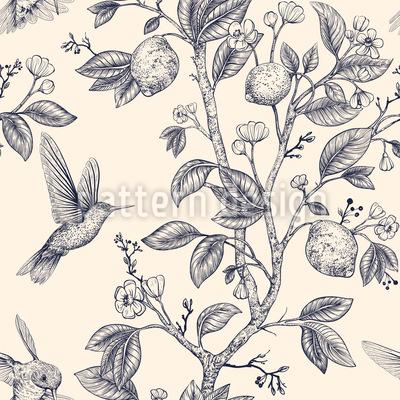Hummingbird And Lemon Tree Seamless Vector Pattern Design