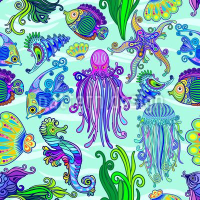 Lebendes Meer Nahtloses Vektormuster