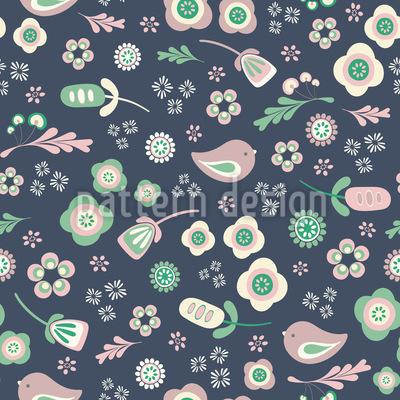 鳥と花柄 シームレスなベクトルパターン設計