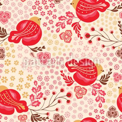混合鳥と花柄 シームレスなベクトルパターン設計