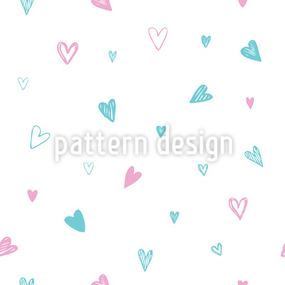 Doodled Hearts Seamless Vector Pattern Design