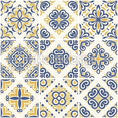 Portuguese Tile Seamless Vector Pattern Design