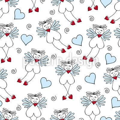 Hadas con corazones Estampado Vectorial Sin Costura