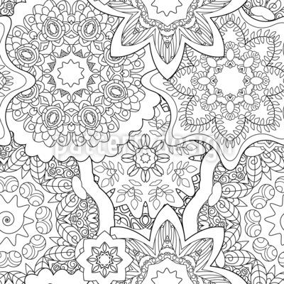 Mandalas superpuestas Estampado Vectorial Sin Costura