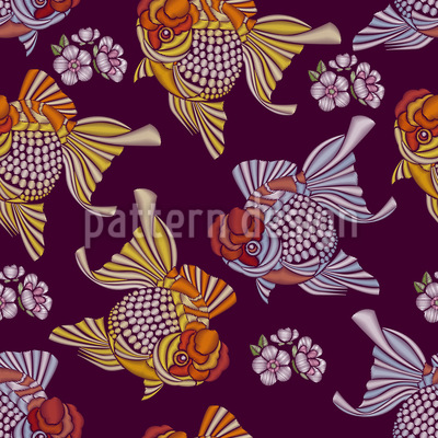 Embroidered Goldfish Design Pattern