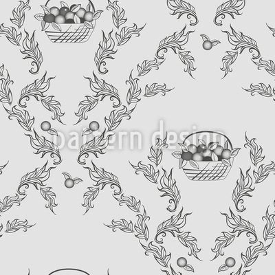 Emmas Cherries Grey Seamless Vector Pattern Design