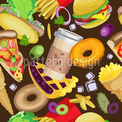 Fast-Food-Party Nahtloses Vektormuster