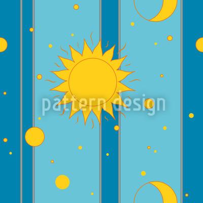 Sonne, Mond und Sterne Vektor Muster