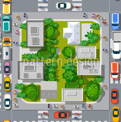 Stadtverkehr Nahtloses Vektormuster