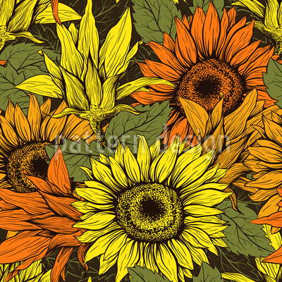 Sonnenblumenernte Nahtloses Vektormuster