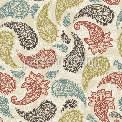 Traditional Indian Paisleys Seamless Vector Pattern Design