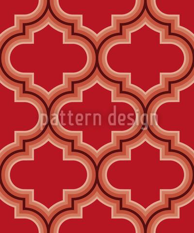 Retro Marokko Rot Rapportiertes Design