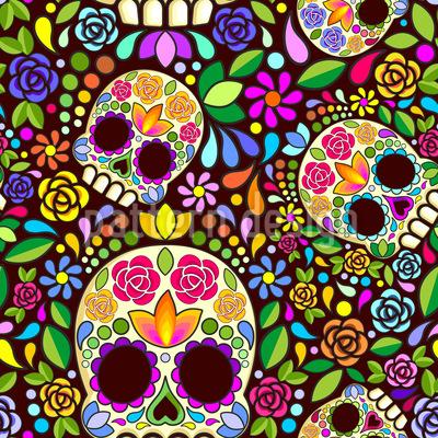 Mexikanischer Schädel Nahtloses Vektormuster