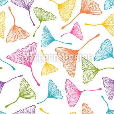 Folhas de Ginkgo Coloridas Design de padrão vetorial sem costura