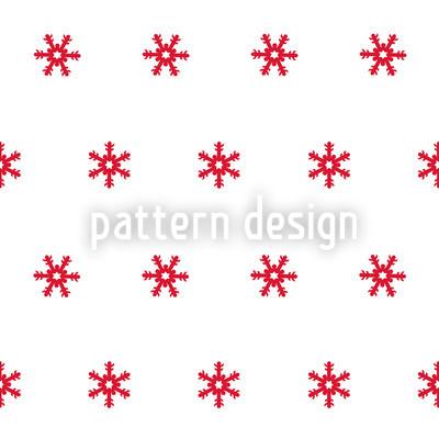Schneeflocken Rot Rapportiertes Design