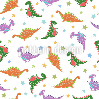 Dinosaurs And Stars Vector Ornament