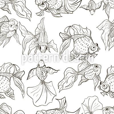 Goldfish Seamless Vector Pattern Design