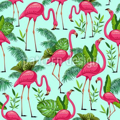 Flamingos im Paradies Nahtloses Vektormuster