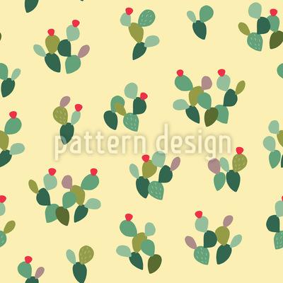 Bunter Opuntie-Kaktus Nahtloses Vektor Muster