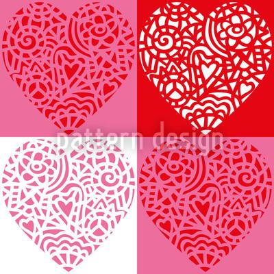 Herzig Rot Nahtloses Vektor Muster