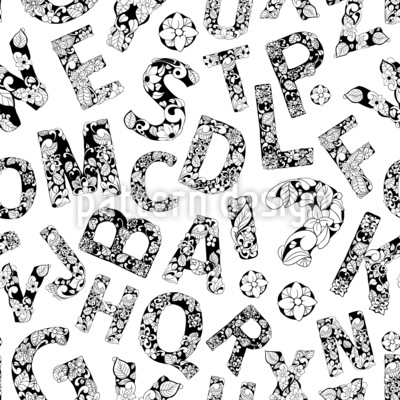 Ornamental Alphabet Letters Seamless Vector Pattern Design