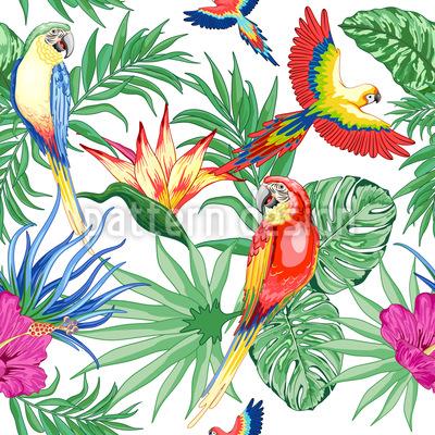 Exotische Papageien Rapportmuster