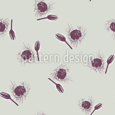 Snow Thistle Seamless Vector Pattern Design