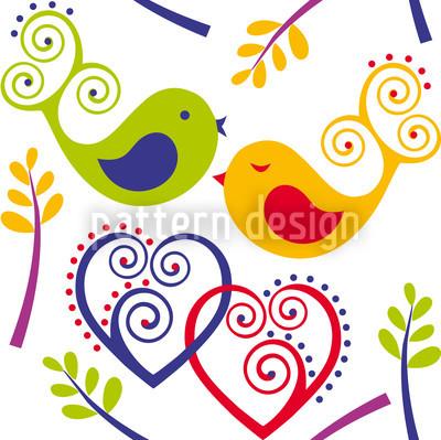Love Birds Seamless Vector Pattern Design