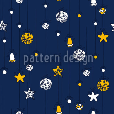 Christmas Decorations Blue Repeating Pattern