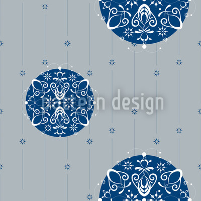Christmas Ornaments Silver Seamless Vector Pattern Design
