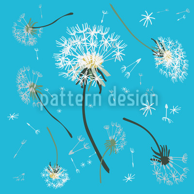 Dandelions Blue Seamless Vector Pattern Design