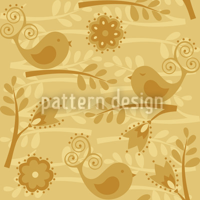 Golden Birdsong Seamless Vector Pattern Design