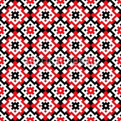 Bordado tradicional dos Balcãs Design de padrão vetorial sem costura