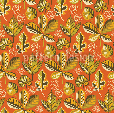 Golden Leaves Sunset Seamless Pattern