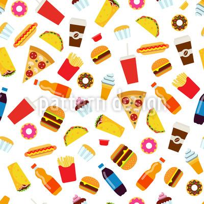 Alimentos Design de padrão vetorial sem costura