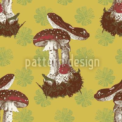 Lucky Mushrooms Seamless Vector Pattern Design