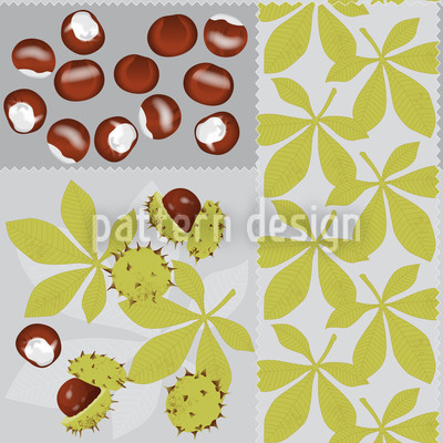 Blätter Und Kastanien Nahtloses Vektormuster