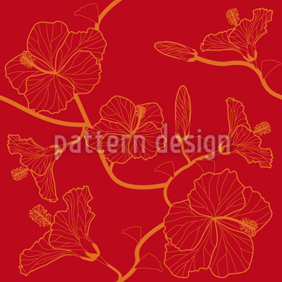 Hibiscusdream en rouge Motif Vectoriel Sans Couture