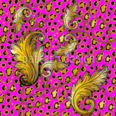 Baroque Leopard Seamless Vector Pattern Design