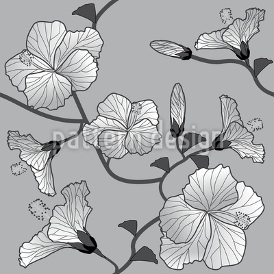 Hibiskus Monochrom Musterdesign