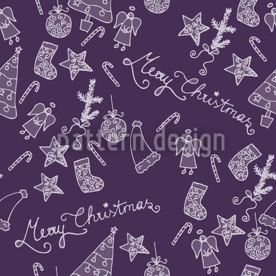 Merry Christmas In Lilaq Seamless Vector Pattern Design