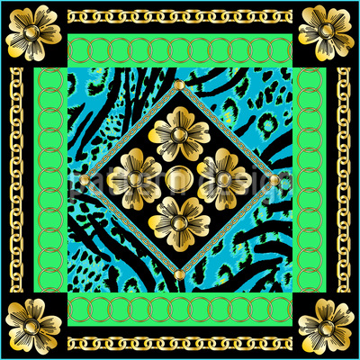 Baroque Flowers Repeating Pattern